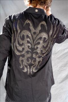 Schwarzes Gothic Hemd mit Glitzer-Applikationen: Grossbild